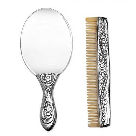 Tesbihane - 925 Ayar Gümüş Ayna ve Kemik Tarak Seti 2