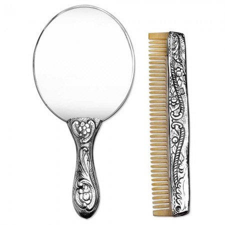 Tesbihane - 925 Ayar Gümüş Ayna ve Kemik Tarak Seti