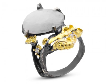 Tesbihane - 925 Ayar Gümüş Aytaşı Yüzük