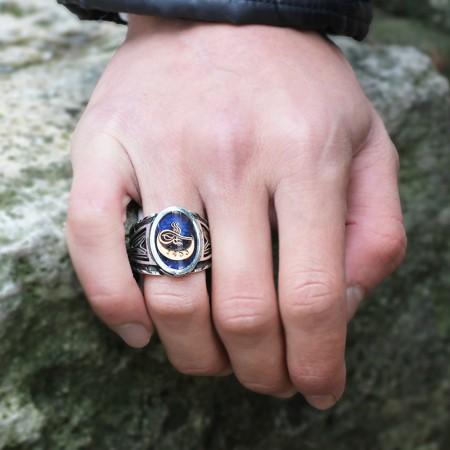 Tesbihane - 925 Ayar Gümüş Aytuğra Yüzüğü
