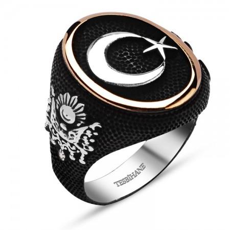 Tesbihane - 925 Ayar Gümüş Ayyıldız Armalı Oval Yüzük
