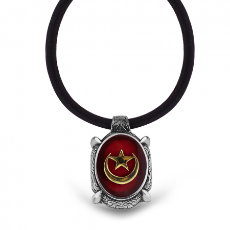 Tesbihane - 925 Ayar Gümüş Ayyıldız Desen Kırmızı Mineli Kolye