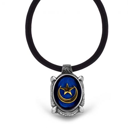 Tesbihane - 925 Ayar Gümüş Ayyıldız Desen Mavi Mineli Kolye