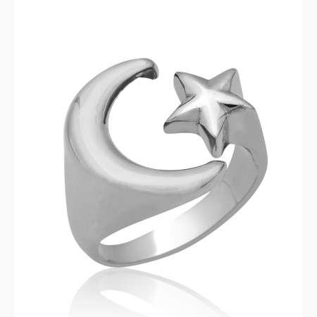 Tesbihane - 925 Ayar Gümüş Ayyıldız Erkek Yüzük