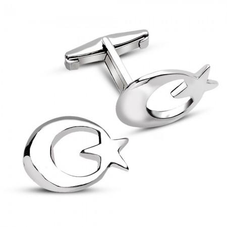 - 925 Ayar Gümüş Ayyıldız Kol Düğmesi