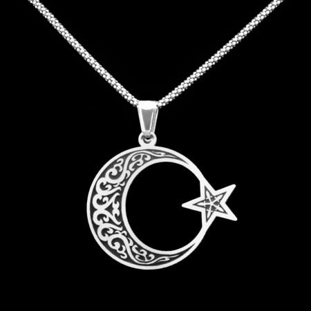 Ayyıldız Tasarım 925 Ayar Gümüş Erkek Kolye - Thumbnail