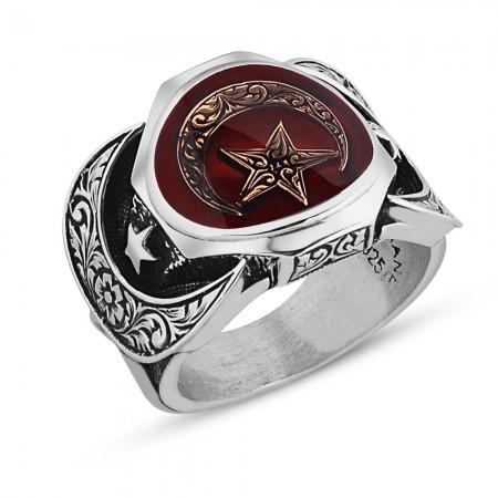 925 Ayar Gümüş Ayyıldız Model Mineli Hünkar Yüzüğü - Thumbnail