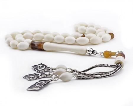 - 925 Ayar Gümüş Ayyıldız Püsküllü Arpa Kesim Deve Kemiği Tesbih