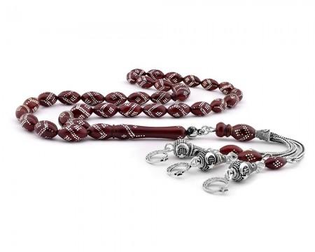 Tesbihane - 925 Ayar Gümüş Ayyıldız Püsküllü ve Gümüş İşlemeli Kırmızı Kuka Tesbih