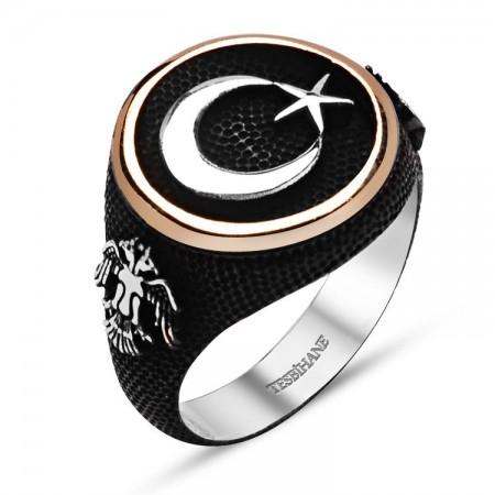 Tesbihane - 925 Ayar Gümüş Ayyıldız Selçuklu Kartallı Siyah Yüzük