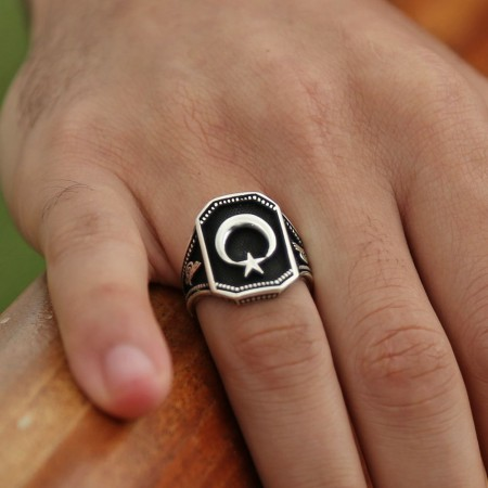 Tesbihane - 925 Ayar Gümüş Ayyıldız Yüzüğü