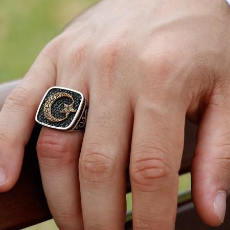 - 925 Ayar Gümüş Ayyıldızlı Vatan Millet Yüzüğü