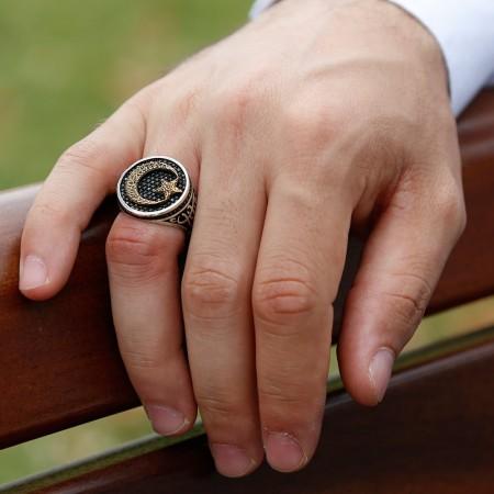 925 Ayar Gümüş Ayyıldızlı Vatan Millet Yüzüğü(oval) - Thumbnail