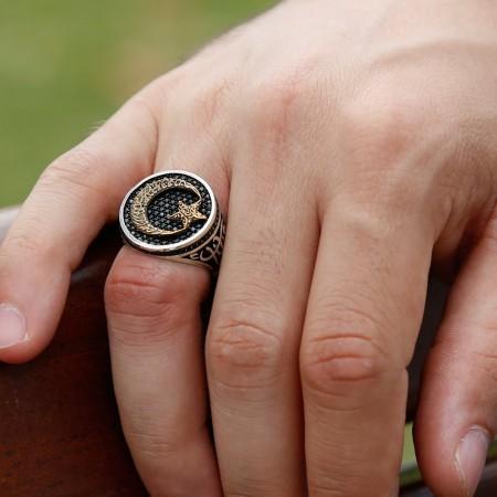 Tesbihane - 925 Ayar Gümüş Ayyıldızlı Vatan Millet Yüzüğü(oval)