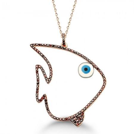 - 925 Ayar Gümüş Balık Tasarım Kolye