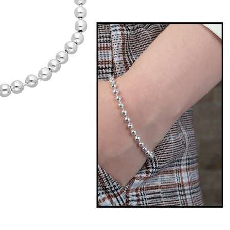 Tesbihane - 925 Ayar Gümüş Ball Chain Bayan Zincir Bileklik