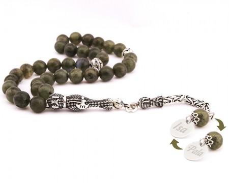 Tesbihane - 925 Ayar Gümüş İsim Yazılı Püsküllü Küre Kesim Labradorit Tesbih