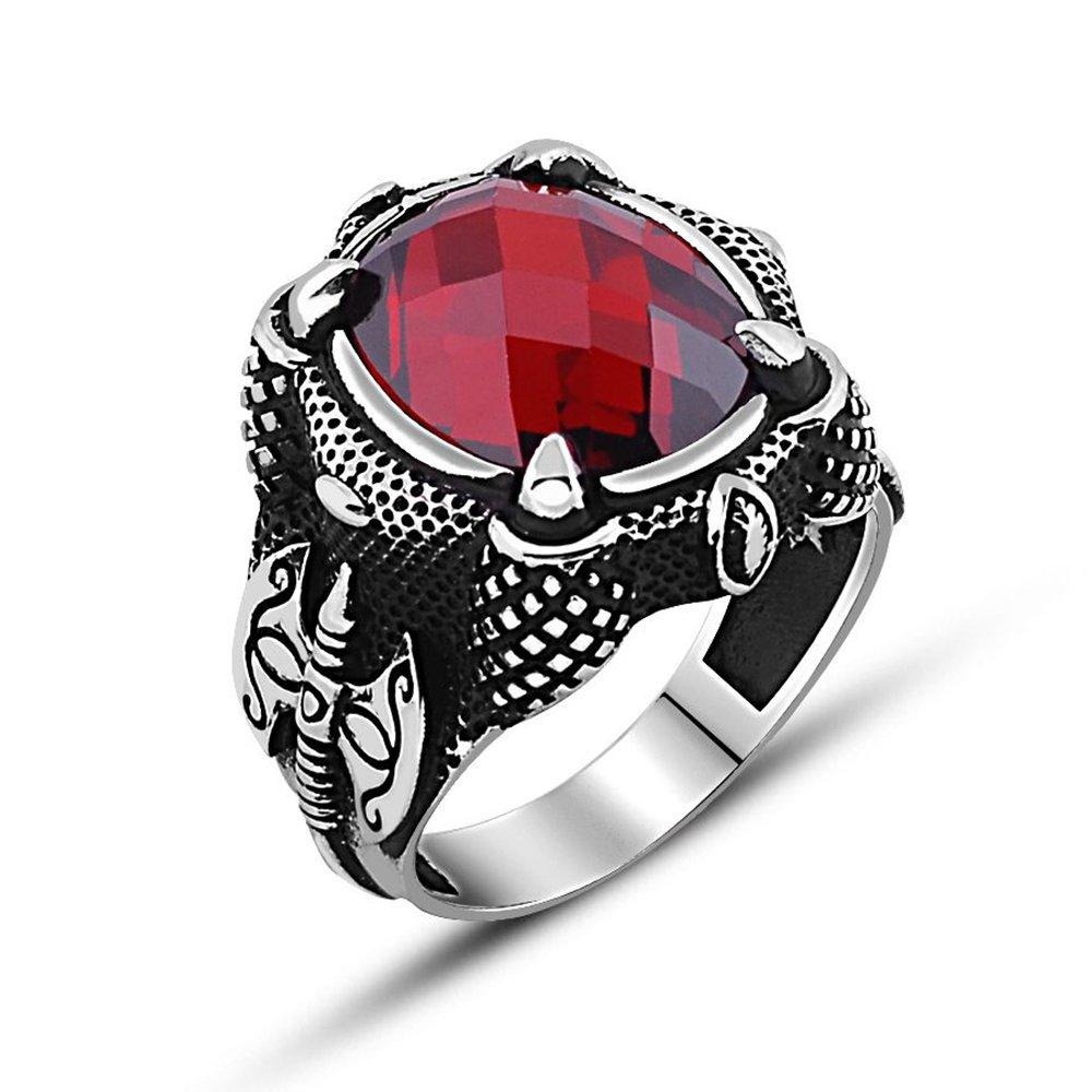 925 Ayar Gümüş Balta Tasarım Kırmızı Zirkon Taşlı Yüzük
