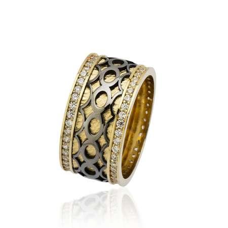 Tesbihane - Sonsuzluk Desen Motifli Zirkon Taşlı 925 Ayar Gümüş Bayan Alyans