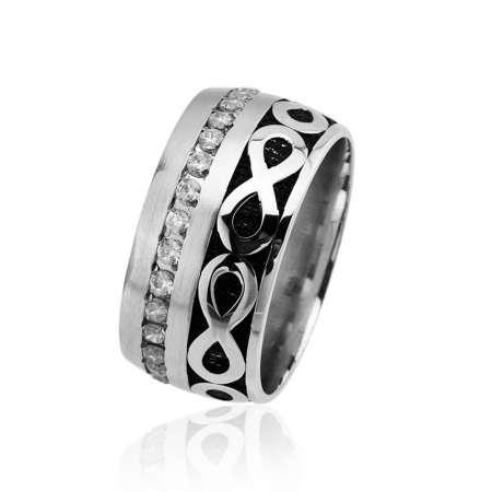 Tesbihane - Sonsuzluk Tasarım Tek Sıra Zirkon Taşlı 925 Ayar Gümüş Bayan Alyans
