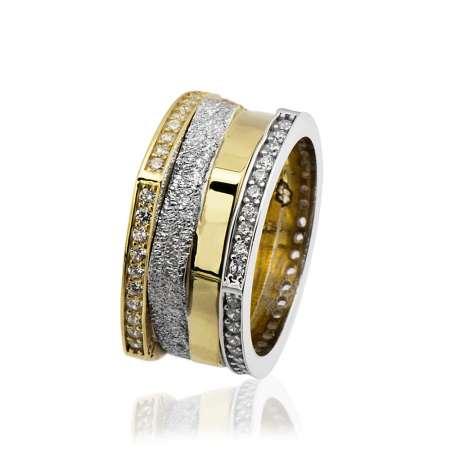 Tesbihane - Köşeli Tasarım Zirkon Taş İşlemeli 925 Ayar Gümüş Bayan Alyans