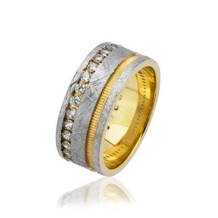 - Çift Şerit Tasarım Zirkon Taş İşlemeli Gold-Gri Renk 925 Ayar Gümüş Bayan Alyans