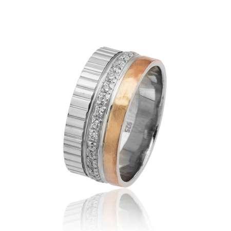 Tesbihane - Üç Şerit Tasarım Zirkon Taşlı 925 Ayar Gümüş Bayan Alyans
