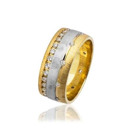 Tesbihane - Zirkon Taş İşlemeli Gol-Gri Renk 925 Ayar Gümüş Bayan Alyans
