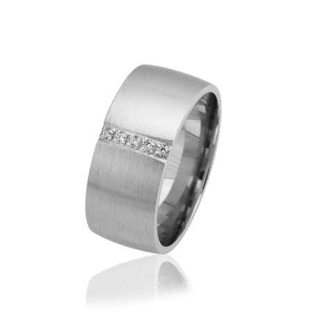 Tesbihane - Klasik Tasarım Zirkon Taşlı 925 Ayar Gümüş Bayan Alyans