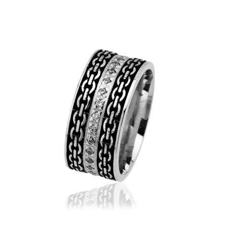 Tesbihane - Zincir Desen İşlemeli Zirkon Taşlı 925 Ayar Gümüş Bayan Alyans