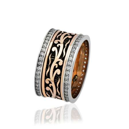 - Klasik Doğu Motifli Zirkon Taşlı 925 Ayar Gümüş Bayan Alyans