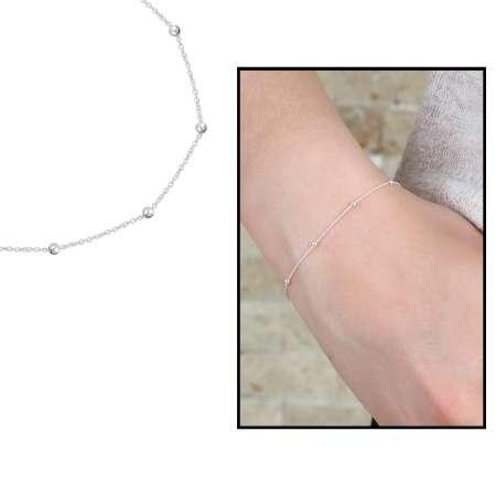 Tesbihane - Top Zincirli Gümüş Renk 925 Ayar Gümüş Bayan Bileklik