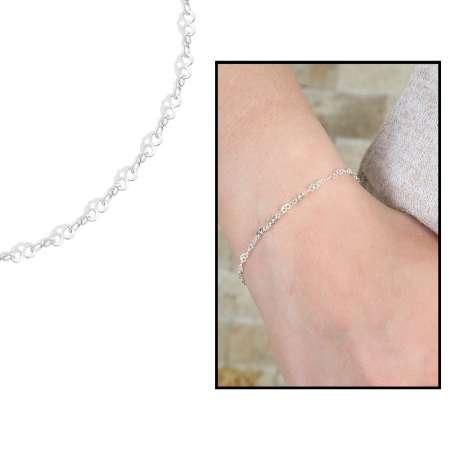- Sıralı Kalp Zincirli 925 Ayar Gümüş Bayan Bileklik