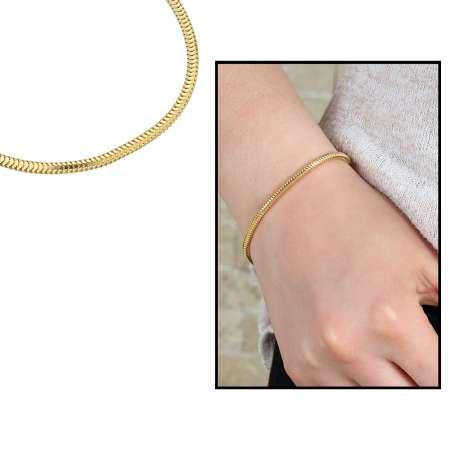 Tesbihane - Yılan Zincirli Gold Renk 925 Ayar Gümüş Bayan Bileklik