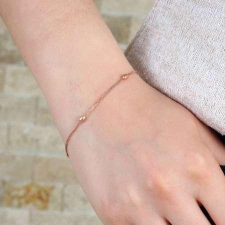 Toplu Zincirli Rose Renk 925 Ayar Gümüş Bayan Bileklik - Thumbnail
