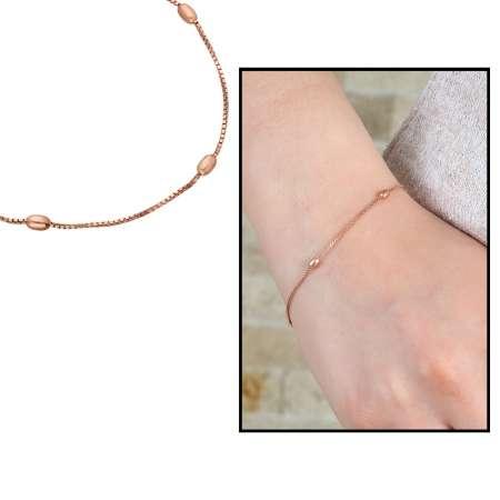 Tesbihane - Toplu Zincirli Rose Renk 925 Ayar Gümüş Bayan Bileklik