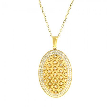 Tesbihane - 925 Ayar Gümüş Altın Rengi Kolye (Model-1)