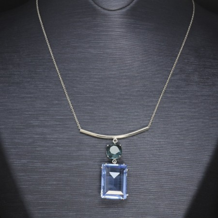 Mavi-Yeşil Zirkon Taşlı 925 Ayar Gümüş Bayan Kolye - Thumbnail