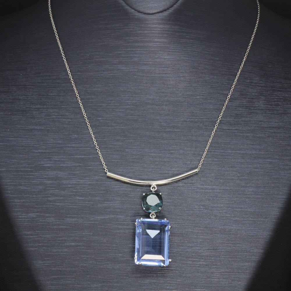 Mavi-Yeşil Zirkon Taşlı 925 Ayar Gümüş Bayan Kolye