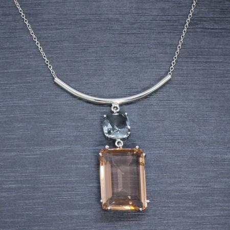 925 Ayar Gümüş Bayan Kolye (Model-12) - Thumbnail