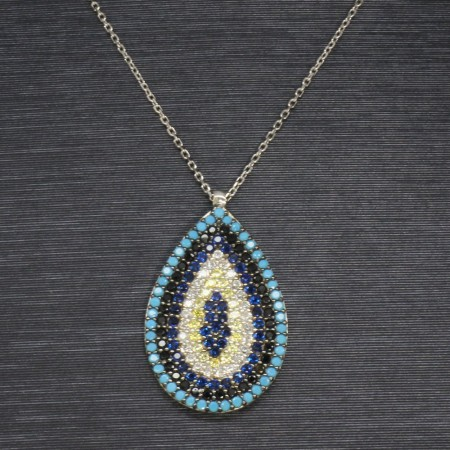 925 Ayar Gümüş Bayan Kolye (Model-18) - Thumbnail