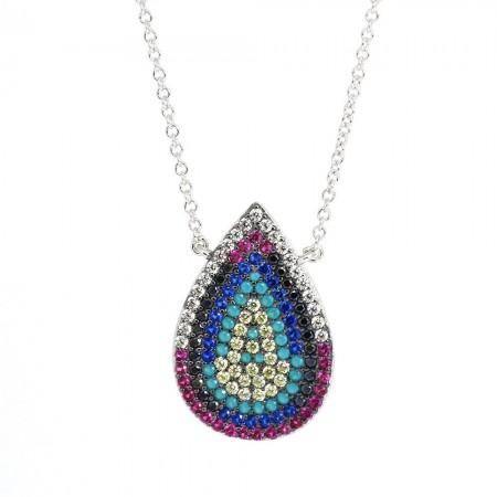 925 Ayar Gümüş Bayan Kolye (Model-19) - Thumbnail
