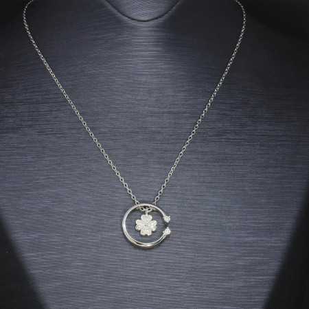 Tesbihane - Zirkon Taşlı Yaprak-Çember Tasarım 925 Ayar Gümüş Bayan Kolye