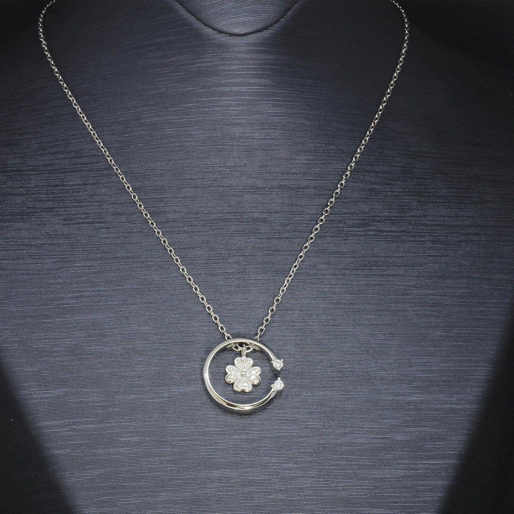 Zirkon Taşlı Yaprak-Çember Tasarım 925 Ayar Gümüş Bayan Kolye