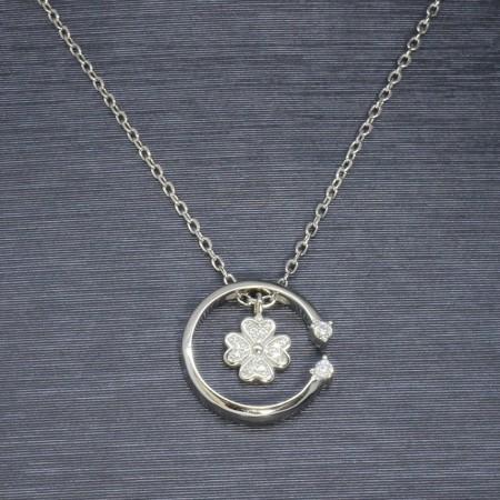 Zirkon Taşlı Yaprak-Çember Tasarım 925 Ayar Gümüş Bayan Kolye - Thumbnail