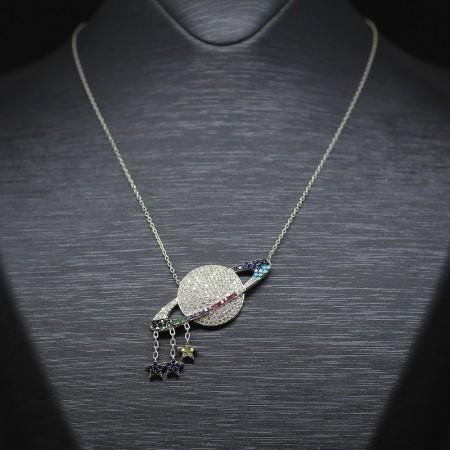 Tesbihane - 925 Ayar Gümüş Bayan Kolye (Model-33)
