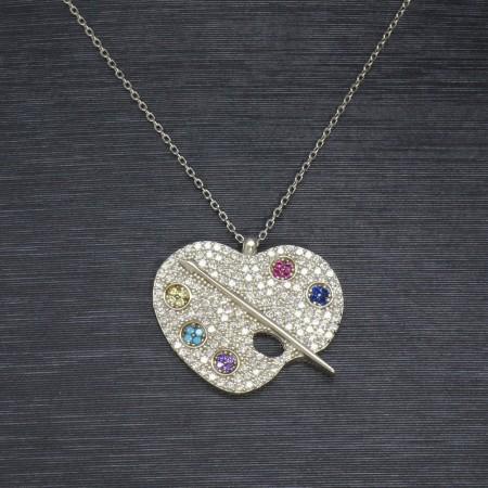 925 Ayar Gümüş Bayan Kolye (Model-34) - Thumbnail