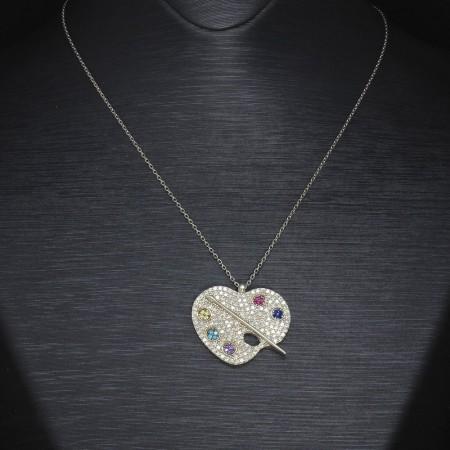 Tesbihane - Renkli Zirkon Taşlı Palet Tasarım 925 Ayar Gümüş Bayan Kolye