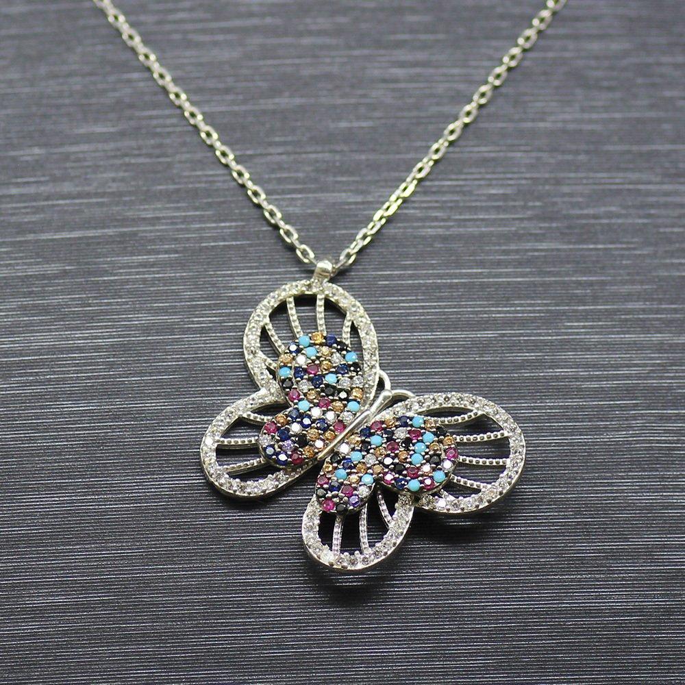 Karışık Renk Zirkon Taşlı Kelebek Tasarım 925 Ayar Gümüş Bayan Kolye
