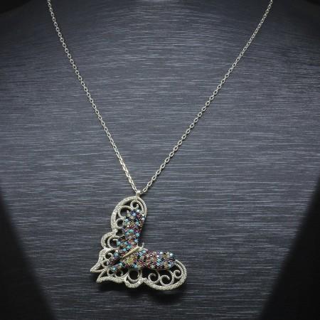 Tesbihane - 925 Ayar Gümüş Bayan Kolye (Model-39)